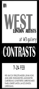 CONTRASTS art exhibition at W3 Gallery February 2013, artists reflecting skills and crafts of 21st century practices. Web page and opinions by director Isabella Wesoly; links art space and artists and All Bright Club Ltd.