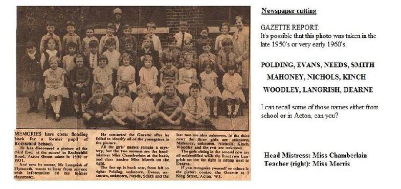 Newspaper cutting from the late 1950' to early 1960's of pupils at Rothschild school, Acton Green in Chiswick London W4. See ART in Education page by Isabella Wesoly at MaKing Murals